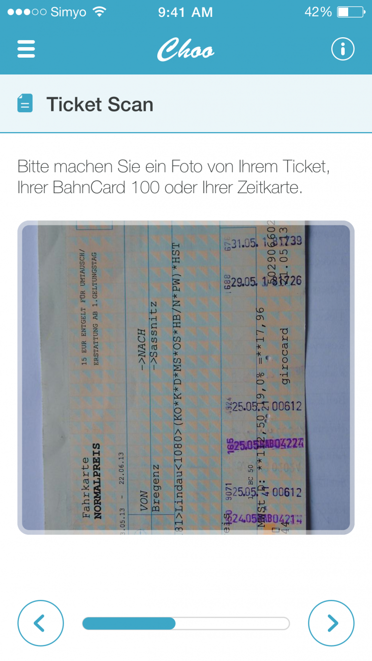 Choo App Ticket Scan